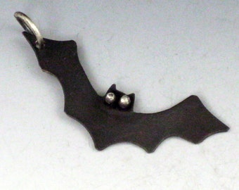 CS14 - Bat Charm by michelegradydesigns - Copper and Sterling Silver Flying Bat Pendant