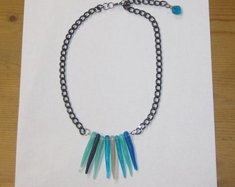 Ocean Icicle Necklace - Handmade Resin Jewelry