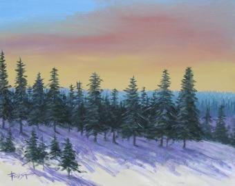 Winter landscape, Landscape Painting, Original painting on canvas,18 X 24, Foust
