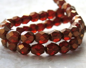 6mm Faceted Round Sunset Maple Czech Glass Bead : 25 pc Sunset Maple 6mm Round