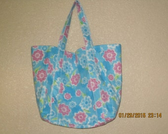 "Double Extra Large Durable 15.5"" Grocery Shopper Reversible Market Tote Bag Large PINK & BLUE FLOWERS - Now 20% off *"