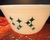 Vintage White Federal GlassMixing Bowl with Turquoise Diamond Design  Blue Teal Aqua