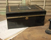 Vintage Metal Document box Black with lid Organize your life