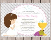 PRINTABLE Girls First Holy Communion Invitation in Pink and Silver Gray / Print Your Own Invitations / Choose Hair Color / You Print