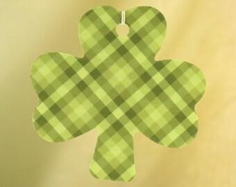Green Gingham Shamrock Air Freshener