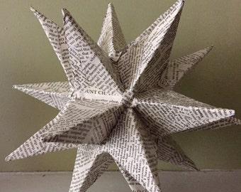 20 Point Moravian Star Paper sculpture Vintage Book Paper