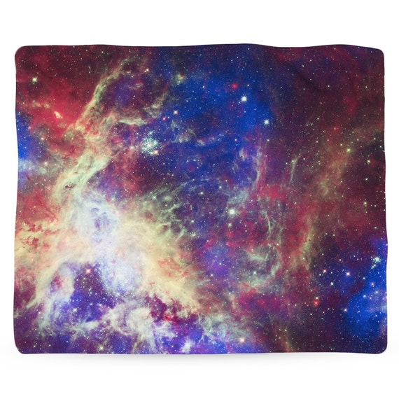 Tarantula nebula galaxy outer space fleece blanket printed for Spaceship fleece fabric