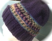 Lady's Hat, Hand Knit, Eggplant Purple with Multicolor Band, One Size Fits Most