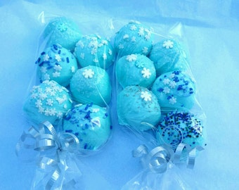 Cake Balls: Frozen Icy colored Blue Ball Bitty Bite Cake Balls.  Christmas gift idea. Birthday gift idea. Baby Boy gift!
