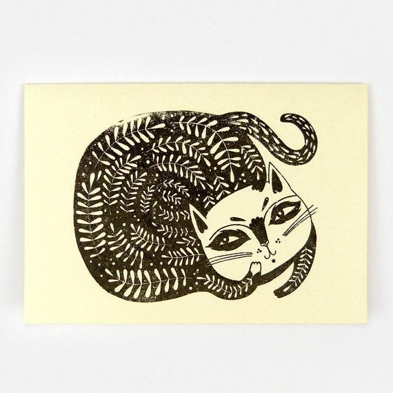 Leafy Cat - Gocco Greeting Card (cream)