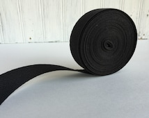 Black Twill Fabric Ribbon, Cotton Twill Tape, Black Medium Herringbone Twill Tape
