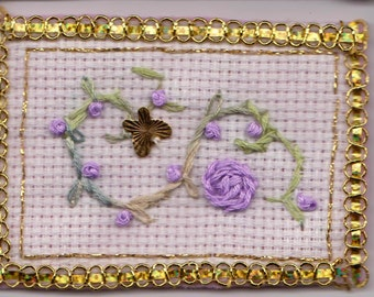 ATC hand embroidered Purple flower