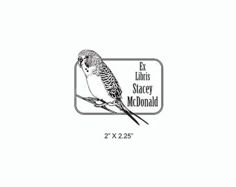 Budgie Illustration Realistic Pet Bird Custom Ex Libris Personalized Bookplate Rubber Stamp O03