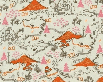 SALE Tokyo Trainride - By Sarah Watts - For Cotton And Steel - 1 Yard - 7.95 Dollars