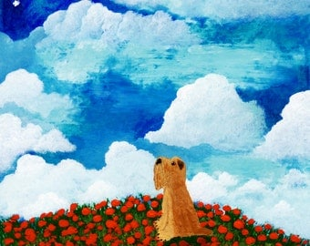 Soft coated Wheaten Terrier Dog Art PRINT Todd Young painting POPPY HILL