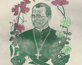 Gregor Mendel with his Pea Plants Linocut Portrait Founder of Modern Genetics Lino Block Print History of Science Biology Botany Heredity
