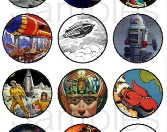 """1"""" Inch Retro Scifi Pins, Flatback Buttons or Magnets 12 Ct. Set A"""