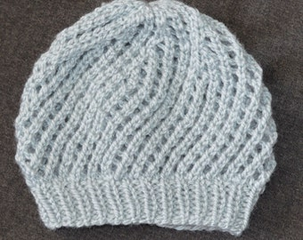 """New Handmade Knit """"Spin Cycle"""" Hat in Gray Rainbow Classic - Women's Small"""