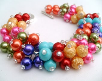 Rainbow Coloured Bracelet, Pearl Bracelet, Multi Coloured Jewelry, Colours of the Rainbow, Cluster Bracelet, Chunky Bracelet, Bright Colours