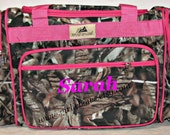 """Personalized 20"""" Duffle Gym Dance Gymnastics Overnight Bag Brown Natural Camo Camouflage Hot Pink Trim MONOGRAMMED FREE - By Girliebows"""