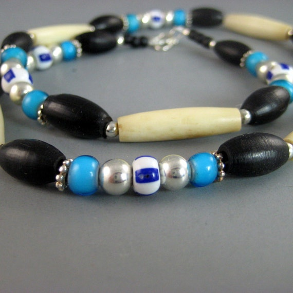 Mens Native American Beads: Native American Necklace Bone Hair Pipe And Sterling