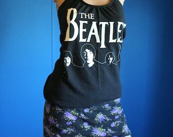 The Beatles Shirt custom recycled Halter Top Small Medium