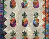 Sunshine Pineapple Quilt Pattern, Vicki Stratton, Quilting Time Patterns, Batiks, 42x62