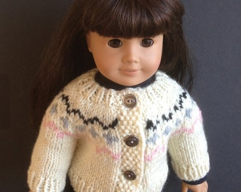 "Sweater Handknit in Cream Nordic Fair Isle Design with Black Grey and Pink Accents - Made to Fit the American Girl and Other 18"" Dolls"
