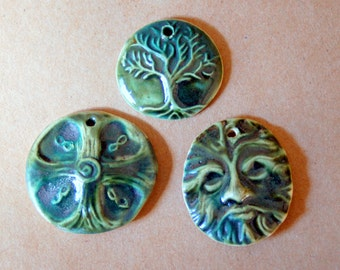3 Handmade Stoneware Beads - Deep Moss Green Glaze - Celtic Beads - Tree of Life, Greenman and Celtic Cross