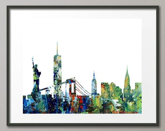 New York City Skyline Cityscape Landscape Brooklyn Bridge | Freedom Tower | Empire State Building | Statue of Liberty | Chrysler