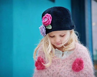 """Cloche Hat Crocheted  """"The Carlie"""" Navy Lavender Hot Pink Sage Bucket Style Hat Flowers"""