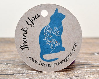 Blue Floral Cat Thank you Hang Tags - Gift Party Favor - Price Tags