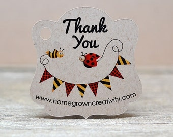 Ladybug Customized Personalized Thank You Gift Tags Hang Tags Product Display Card