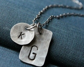 MOTHER AND CHILD Hand Hammered Sterling Silver Personalized Initials Necklace