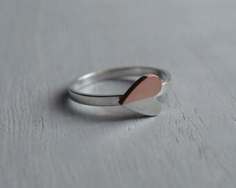 Modern Heart, a petite Silver and Copper ring