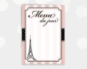 Paris Themed Menu Cards blank - Menu du jour  -  Birthday Party Shower Cocktail - DIY Printable - Instant Download