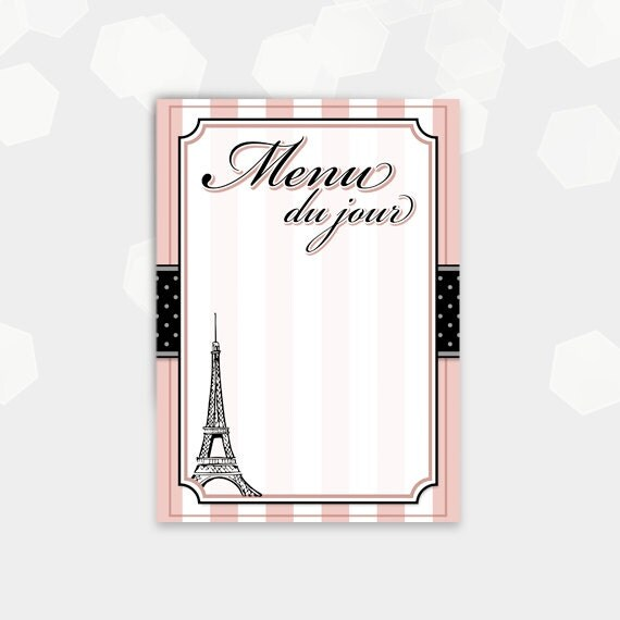 Paris Recipe Cards Paris Themed Menu Cards Blank
