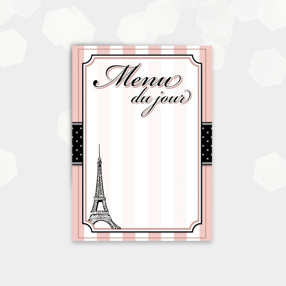 Paris Themed Menu Cards Blank Menu Du Jour Birthday