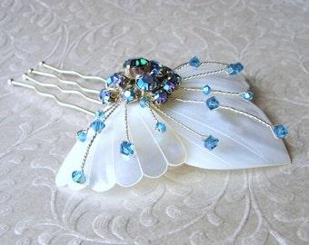 White Mother Of Pearl Wedding Hairpiece Blue Aurora Borealis Rhinestone Hair Comb Swarovski® Indicolite Crystal Shell Headpiece Beach Bride