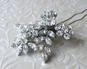 Flower Spray Bridal Hair Comb Rhinestone Costume Jewelry Hairpiece Vintage Bridal Headpiece Bohemian Chic Bride Downton Gatsby Wedding Prom