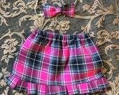 Teacher's Pet - Newborn Pink Plaid School Skirt, Newborn Skirt, Desk Prop, Wooden Desk Prop, Photo Prop