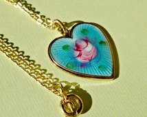 Vintage Sarah Coventry Aqua Guilloche Enameled Heart Necklace (58-11-1)