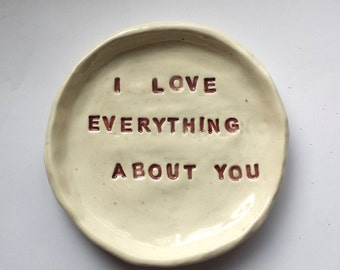 Valentine Love Dish Ceramic Trinket Dish  In Stock Home Decor Gift Soap Dish Tea Bag Holder red  Home Decor