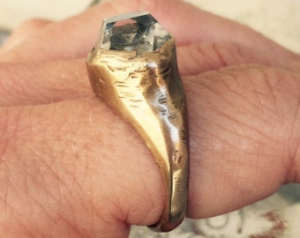 Crystal Visions OOAK Herkimer Diamond Bronze ring size 7.25