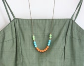 Colorful Beaded Strand Necklace, Statement Necklace, Color Block Necklace, Long Brass Necklace, Gift For Her, Boho Chic Necklace