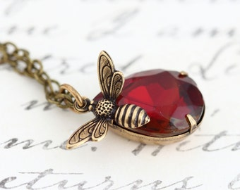 Bee Pendant Necklace - Honey Bee Charm Necklace - Vintage Glass Jewel - Red Topaz - Brass Necklace - Girlfriend Gift - Gift For Woman