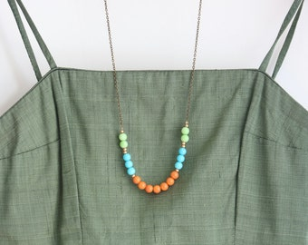 Colorful Beaded Strand Necklace - Statement Necklace - Color Block Necklace - Long Brass Necklace - Boho Chic Necklace