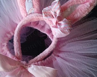 Pink Easter Bunny Tutu Set, Bunny Ears w/ Chevron Hair Bow & Pink Tutu - READY TO SHIP