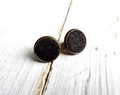 Cork Stud Earrings on Brass Base