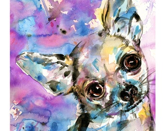 Chihuahua Painting, Watercolor Dog, Puppy, Pink, Purple, Abstract art, Giclee archival print from original art by Kathy Morton Stanion EBSQ